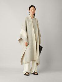 JOSEPH Poncho Stripes Kaftan Wool Knit in Pearl / longline luxury ponchos