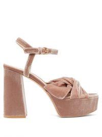 GIANVITO ROSSI Poppy 70 knotted velvet platform sandals pink – luxury platforms