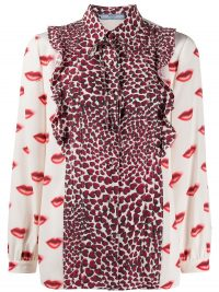 PRADA lips and hearts printed shirt – high neck bow detail blouse