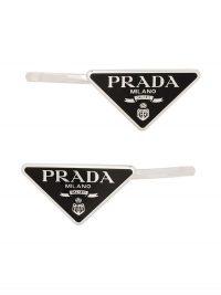 PRADA logo triangle hair slides