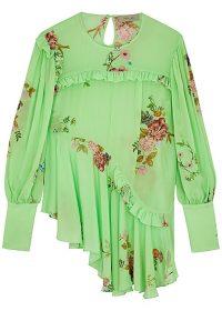 PREEN LINE Kapona floral-print crepe de chine blouse in green
