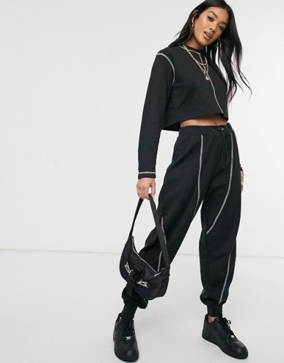 Public Desire contrast stitching co-ord in black/white - flipped