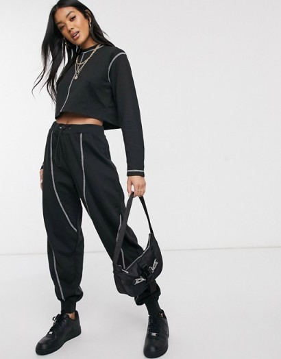 Public Desire contrast stitching co-ord in black/white