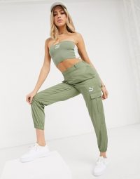 Puma High Waisted Utility Pants in khaki exclusive to ASOS – casual green trousers