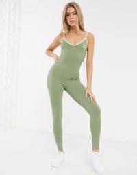 Puma Unitard in khaki exclusive to ASOS – strappy green unitards