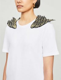 RAGYARD Golden Wing embroidered cotton T-shirt in white
