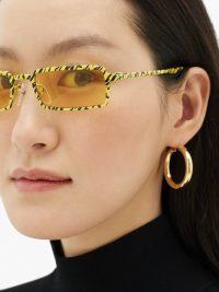 BALENCIAGA Rectangular yellow and black tiger-print metal sunglasses