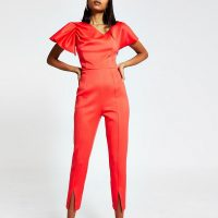 RIVER ISLAND Red sleeveless tapered leg jumpsuit