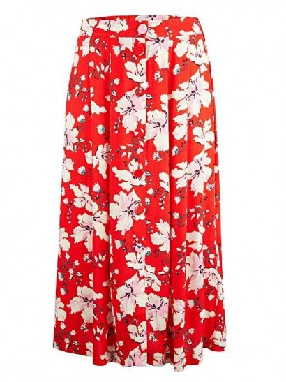 OLIVER BONAS Red Wildflower Button Through Midi Skirt | bright floral skirts