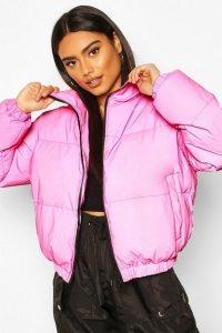 boohoo Reflective Funnel Neck Padded Jacket in Pink