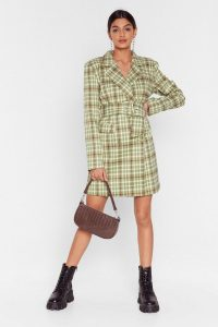 NASTY GAL Reporting for Check-In Blazer Dress in Sage