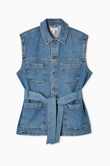 Topshop Reworked Denim Belted Shacket in Mid Stone | sleeveless shackets - flipped