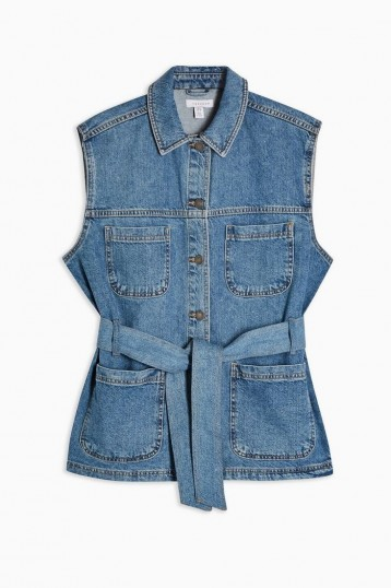 Topshop Reworked Denim Belted Shacket in Mid Stone | sleeveless shackets