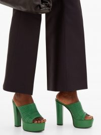 GIVENCHY Ribbed green leather platform mules