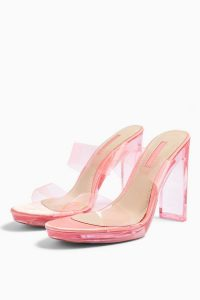 TOPSHOP RIKKI Coral Transparent Mules – clear going out heels