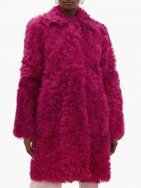 SIES MARJAN Ripley shearling coat in raspberry pink ~ luxe textured coats
