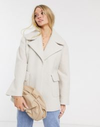 River Island boucle swing coat in ivory