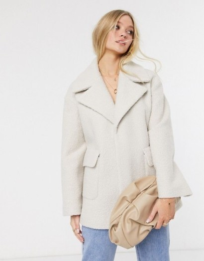 River Island boucle swing coat in ivory - flipped