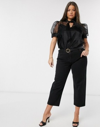 River Island Plus organza short sleeve polka dot top in black – puffed sleeve blouses - flipped