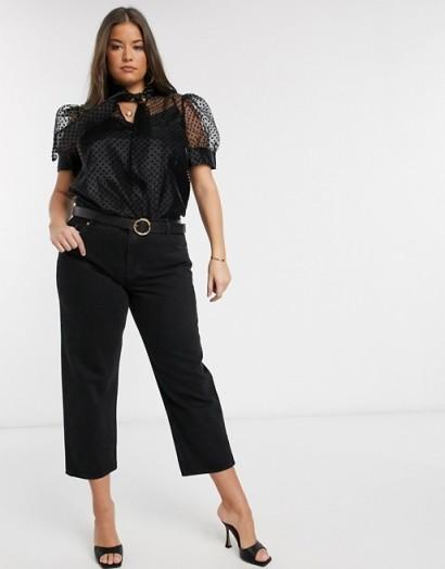 River Island Plus organza short sleeve polka dot top in black – puffed sleeve blouses