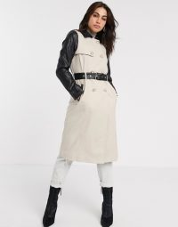 River Island trench coat with faux leather sleeves in beige
