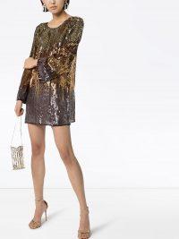 RIXO Aria sequinned mini dress / shimmering shift dresses