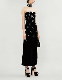RIXO Florence crystal-embellished velvet midi dress in black