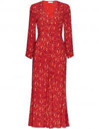 RIXO Katie printed woven midi dress in Klimt Eye Wave Red Gold