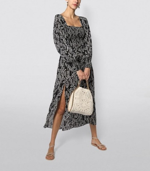 Rixo Marie Long-Sleeved Midi Dress in Black ~ flowing summer dresses ~ effortlessly stylish vacation look - flipped