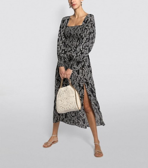 Rixo Marie Long-Sleeved Midi Dress in Black ~ flowing summer dresses ~ effortlessly stylish vacation look