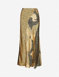 RIXO Parker leopard-print silk-satin midi skirt in gold patchwork lpd mix
