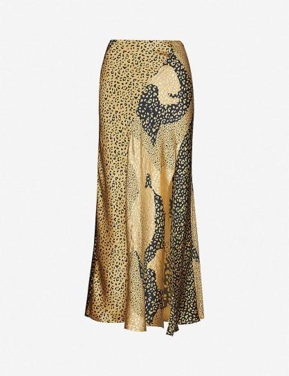 RIXO Parker leopard-print silk-satin midi skirt in gold patchwork lpd mix