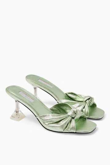 TOPSHOP RIZZ Green Knot Transparent Mules - flipped