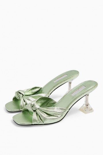 TOPSHOP RIZZ Green Knot Transparent Mules
