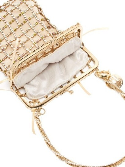 ROSANTICA Robin crystal-embellished clutch in gold – luxe event bag - flipped