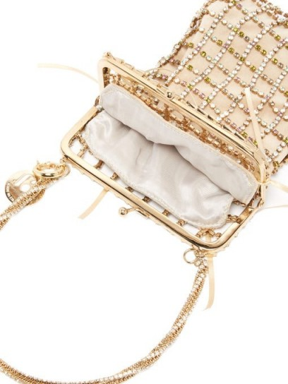ROSANTICA Robin crystal-embellished clutch in gold – luxe event bag