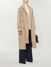 ROKH Asymmetric cotton trench coat in burlywood