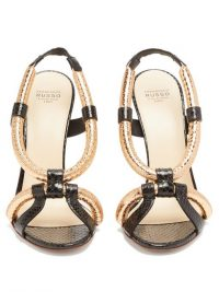 FRANCESCO RUSSO Rolled-strap ayers stiletto sandals in gold | luxe evening heels