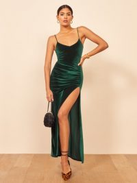 Reformation Romano Dress Emerald – sytappy side ruched dresses