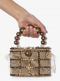 ROSANTICA Holli crystal bracelet bag / small luxe top handle bags