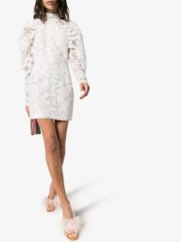 Rotate Kim High Neck Floral Mini Dress White