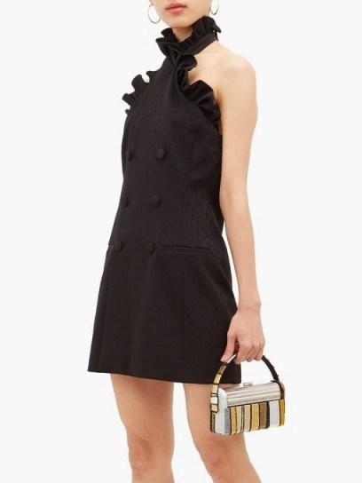 DUNDAS Ruffled leopard-jacquard wool-blend mini dress in black – lbd - flipped