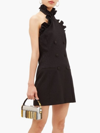DUNDAS Ruffled leopard-jacquard wool-blend mini dress in black – lbd