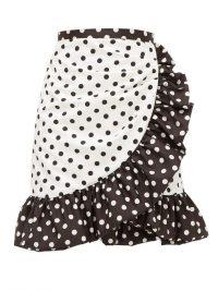 RODARTE Ruffled polka-dot skirt in white ~ frill trimmed skirts