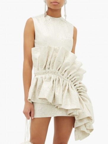 GERMANIER Ruffled upcycled brocade dress in white – glamorous style statement dresses