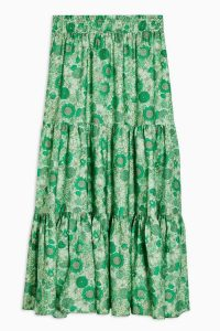 TOPSHOP 70s Floral Tiered Midi Skirt in Green