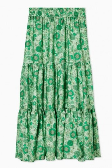 TOPSHOP 70s Floral Tiered Midi Skirt in Green - flipped