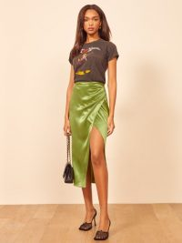 REFORMATION Sabine Skirt in Avocado ~ green ruched skirts