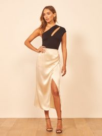Reformation Sabine Skirt Ivory | luxury looking wrap skirts