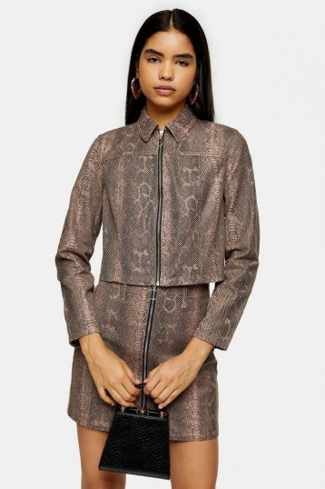 TOPSHOP Sand Snake Print Zip Fitted Jacket - flipped